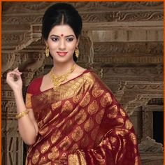 Red Brocade Pure Silk Saree with Blouse