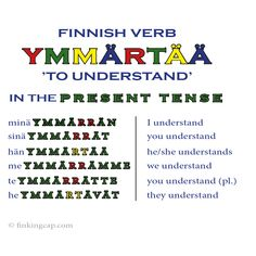 The Finnish verb 'ymmärtää' belongs is verb type 1. The Finnish verb types can feel overwhelming - but they are actually surprisingly logical! Once you know the Finnish verb types, it's a lot easier to proceed to more advanced verb structures.