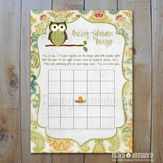 INSTANT DOWNLOAD Owl Baby Shower Bingo Game Cards, Item 1613, Printable Baby Shower Game. $5.00, via Etsy.