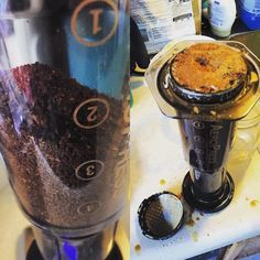 Day 18 and 19 (though both photos are of the coffee 19). Ok so let me first say that I tried a two cup recipe inverted with day 18 the Ethiopian Duromina by @koppi_roasters. And as you can see it totally failed. Couldn't get all the water in and overflowed with what was in there. Couldn't get the cap on either.  Day 19 is the Sumava CR black honey roasted by @lacabracoffee. I tried another two cup but this time non inverted and with the @ablebrewing disk fine. It worked this time but I think…