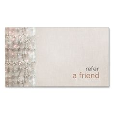 Modern and Hip Sequins Refer A Friend Salon Coupon Business Card Template. This is a fully customizable business card and available on several paper types for your needs. You can upload your own image or use the image as is. Just click this template to get started!