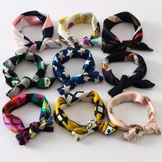 Multicolor Square Printed Ladies Small Neck Scarves Turban - LINQ LA