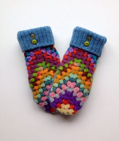Funky Granny Afghan Mittens!                                                                                                                                                                                 More