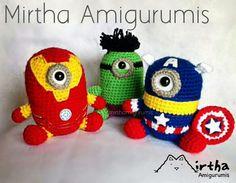 Super heroes minions Amigurumis by Mirtha Amigurumis Ecuador Cute Crochet, Crochet Crafts, Crochet Toys, Knit Crochet, Amigurumi Patterns, Amigurumi Doll, Crochet Patterns, Minion Characters, Minion Crochet