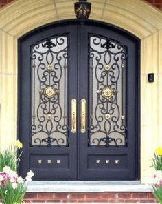 Custom Iron Entry Doors manufactured by Manhattan Iron Doors. Iron Front Door, Front Door Porch, Double Front Doors, Front Door Entrance, Front Door Colors, Front Door Decor, Entry Doors, Best Front Doors, Grand Entrance