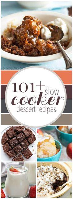 101+ Slow Cooker Dessert Recipes #recipe #crockpot