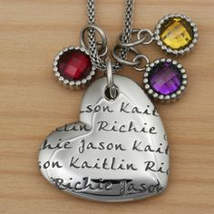 LifeNames PagePendant Heart - I want this, with my children's names & birthstones but NOT for $189.00...gonna have to 'hack' this.