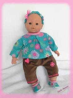 Ensemble vêtements poupon 42 cm type Corolle ou autres: Blouse, pantalon, bandeau et chaussons : Jeux, jouets par meli-mani