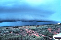 """Approaching thunderstorm with lead gust front. Rain-cooled air from the storm moves out ahead of the storm. It ploughs under the warm moist air forming a flat""""shelf cloud."""""""