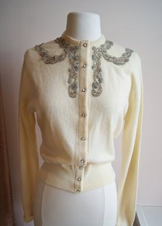 Vintage Cashmere Cardigan // 50s Beaded Cardigan // 1950s Ivory Beaded Cardigan by Caldoria Med