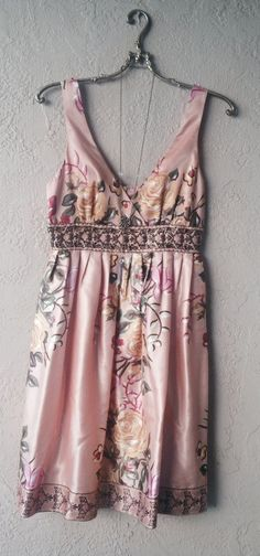 Peach antique Floral silky Beaded 50s inspired prom dress