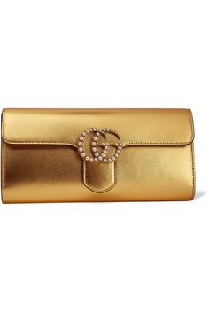 4c295608743a GUCCI GG Marmont faux pearl-embellished metallic leather clutch Gucci Leather  Bag