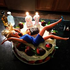21st birthday cake!! Hangover Barbie ;)