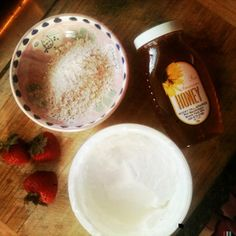 DIY - Oatmeal, Honey, Yogurt & Strawberry Face Mask. Simple enough and you can even eat the left overs!