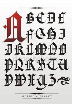 Stáhnout - Gotické písmo abeceda — Stocková ilustrace #10240934