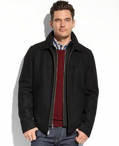 Tommy Hilfiger Coats, Melton Wool Zip-Front Bib Coat - Coats & Jackets - Men - Macy's