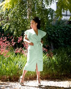 An oxford cotton, button-down, wrap dress with a low-V neckline, flared sleeves, 2 front pockets, mid-calf length and ribbon belt #effortless #style #australia #wraparound #green Ribbon Belt, Mint Green, Cotton Fabric, Wrap Dress, Oxford, Neckline, Shirt Dress, Wraparound, Stylish