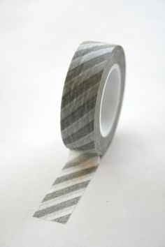 Grey and White Diagonal Stripe Washi Tape from InTheClear on Etsy.