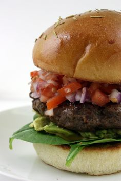 Ultimate Blue Cheese Bison Burgers on Rosemary Brioche Buns | The Kitchen . Bison meat, blue cheese, Worcestershire, spicy mustard, green onions, salt and pepper, with red onion, tomato, avocado, spinach, butter