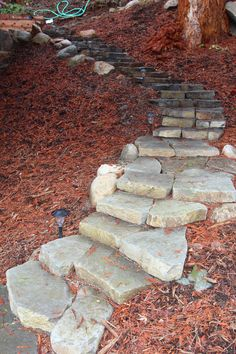 Coming across rock landscaping ideas backyard can be a bit hard but designing a rock garden is one of the most fun and creative forms of gardening there is. Large Backyard Landscaping, Landscaping With Rocks, Landscaping Tips, Fire Pit Using Bricks, Rock Steps, Flagstone Path, Landscape Fabric, Landscape Stairs, Garden Stairs