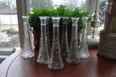 Vintage pressed glass flower vase set by WhiteBarnHome on Etsy, $4.00