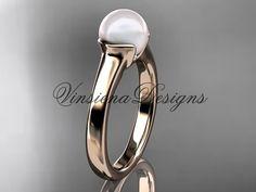 14kt rose gold pearl engagement ring VP10016 by VinsienaDesigns