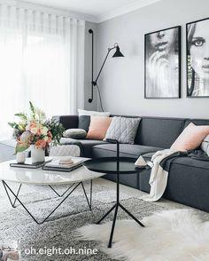 Amazing Modern Living Room Scandinavian Decoration for Your Home Living Room Grey, Living Room Interior, Home Interior Design, Home And Living, Living Room Decor, Small Living, Living Rooms, Living Spaces, Modern Living