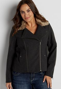 e9a96ffe171 plus size moto jacket with faux fur collar