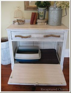 cabinet made over to kitty toilet - keep the dog from eating the tootsie rolls left by your cat