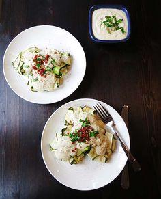 Zucchini Ravioli with Chicken Prociutto Filling and 'Cauli-fredo' Sauce (Paleo and Gluten Free!)