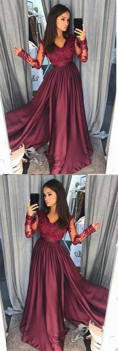 Elegant A-Line Lace Long Sleeves Satin Burgundy Beads Slit V-Neck Prom Dresses UK,#longsleeve,#eveningdressuk,#cheappromdressuk,#burgundy,#slit