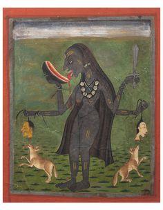 Kali, Mandi, Inde, 1700-1720. Pigments sur papier, 21 x 17 cm © Alexis Renard, photo : Antoine Mercier