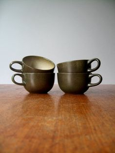 Four Vintage Heath Ceramics Sea and Sand Cups. luola on Etsy