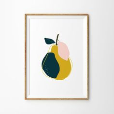 Mustard Pear Botanical Print - Art Print - Kitchen Art - Childrens Wall Art - Fruit Print - Health and wellness: What comes naturally Childrens Wall Art, Art Wall Kids, Art For Kids, Leonardo Da Vinci Zeichnungen, Lake District, Flowers Wallpaper, Impressions Botaniques, Fruit Illustration, Animal Illustrations