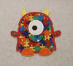 Monster Autism Awareness Puzzle Piece (large) Tutu & Shirt Supplies - fabric iron on Applique Patch 8148 by TheFabricScene on Etsy
