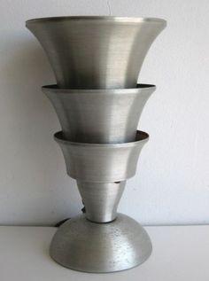 Antique-1930s-Art-Deco-Spun-Aluminum-Torchiere-Table-Lamp-Machine-Age