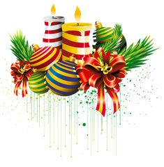 Transparent Christmas Ball and Candles Clipart Picture
