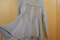 Pure Italian Wool Upcycled Sweater Jumper, Cream with Lace Inserts, one off piece
