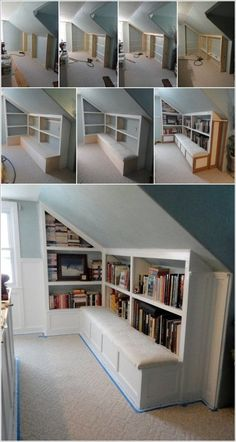 Clever Use of Attic Room Design and Remodel Ideas The sloped ceiling, textured wall covering and platform beds of this attic bedroom stimulate the sensation of oversleeping a camping tent, a particularly glamorous one. In between the beds, open shelvin Room Renovation, Attic Rooms, Remodel, Loft Room, House, Home, Loft Design, Room Remodeling, Cool Rooms