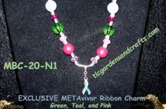 20 inch necklace with silver nautical look toggle closure. A variety of Pink, Blue, and Green Acrylic and glass beads with a liquid silver spacer at center to feature the Exclusive METAvivor Ribbon Charm on a silver bail.  As with all of our jewelry items, 30% of the proceeds from this item will benefit @METAVIVOR.org to help fund research for Metastatic / Stage IV Breast cancer, in hopes that one day, there will be no more deaths from Breast Cancer!