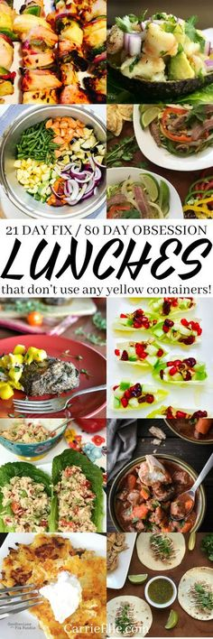 21 Day Fix No Yellows Lunches (perfect for 80 Day Obsession)