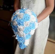 White and blue foam roses sparkle glitter brooches silver frozen flowers wedding BOUQUET satin Handle, winter wonderland christmas custom - pinned by pin4etsy.com
