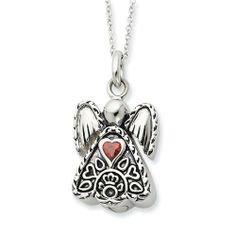 Sterling Silver Antiqued Jan. Cz Birthstone Angel Ash Holder 18in Necklace Sentimental Expression. $134.16
