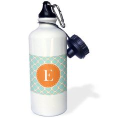 3dRose Letter E Monogram Orange and Blue Quatrefoil Pattern, Sports Water Bottle, 21oz
