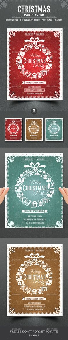 Christmas Flyer Template PSD - US Letter Paper Size #download #xmas