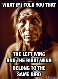 What if I told you that the left wing and the right wing belong to the same bird. And this is why I'm not sure about Trump. Instead of draining the swamp I think he may have jumped in with the rest of the billionaires Wise Quotes, Quotable Quotes, Great Quotes, Motivational Quotes, Funny Quotes, Inspirational Quotes, Wisdom Sayings, Gandhi Quotes, Native American Wisdom