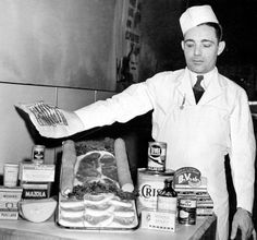 Omaha grocer displays World War II rationing rules – 2 pounds of meat per week