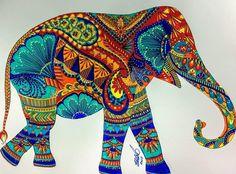 Elephant Colour, Elephant Love, Indian Elephant Art, Dot Painting, Fabric Painting, Mandala Design, Mandala Art, Elephant Artwork, Elephant Parade