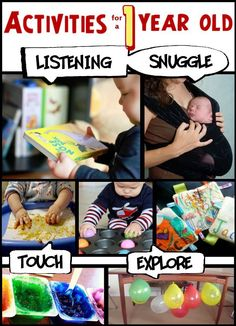 Lots of activities for 1 year old children.  Great ideas for when grandma or an aunt babysits the kids