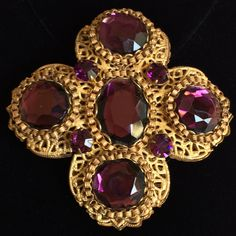 Grand Vintage Miriam Haskell Brooch Pin~Amethyst Purple Rhinestones/Gold Tone Filigree~Signed